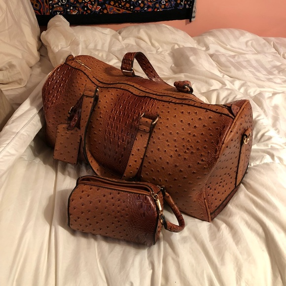 Le Miel Other - Vegan Ostrich Leather 2 in 1 Duffel + Travel Case fcd014c8d0a18